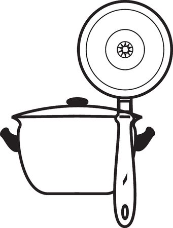 stockpot: Graphic representation of a saucepan and frying pan