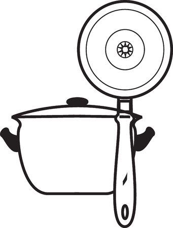 quart: Graphic representation of a saucepan and frying pan