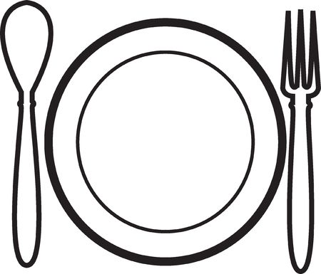 addressee: Vector-plate, plug, the spoon Stock Photo