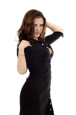 caucasian: series of images with the beautiful brunette in a black dress Stock Photo