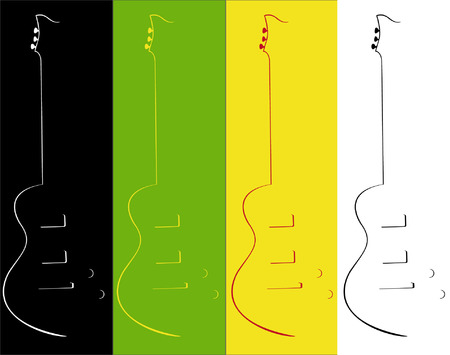 fingerboard: Four contours of a guitar on different a background