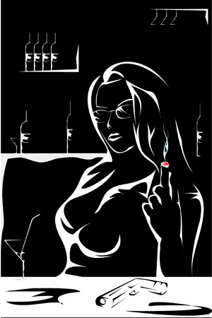 gangster with gun: la ni�a tiene un gangster de descanso en un bar, las bebidas de vino, fuma un cigarro y disfruta de una vida