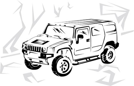 Illustration of a military off-road car it is isolated on the white illustration