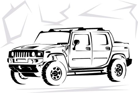 hummer: Illustration of a military off-road car it is isolated on the white Stock Photo