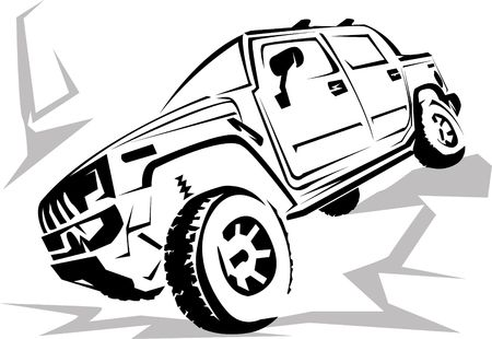 Illustration of a military off-road car it is isolated on the white Stock Illustration - 3528793