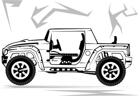 Illustration of a military off-road car it is isolated on the white Vector
