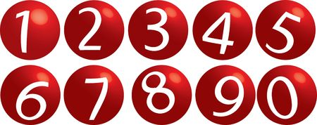 Series of illustrations with numbers from 0 up to 9 Stock Photo