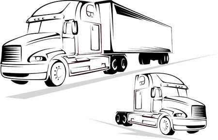 motor de carro: Ilustraci�n vectorial de los grandes camiones sobre un fondo blanco Foto de archivo