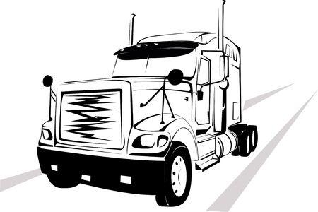 motor de carro: Vector-ilustraci�n de los grandes camiones sobre un fondo blanco Foto de archivo
