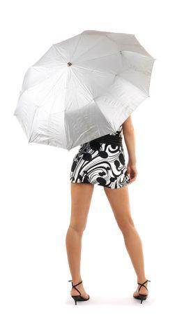 mini umbrella: girl with an umbrella isolated over white