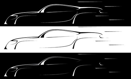 prestigious: Vector series. prestigious sports machine is isolated on white and black background. Gradient version Stock Photo