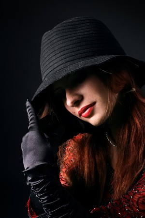 Portrait of the girl in an image of the gangster Stock Photo