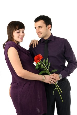 Young beautiful married couple the birth of the first child wait Stock Photo - 4074809