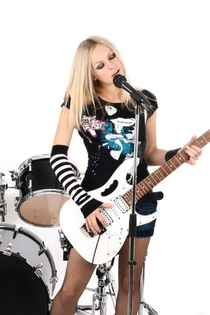 photo series in style rock-n-roll with the beautiful blonde Stock Photo - 4074817