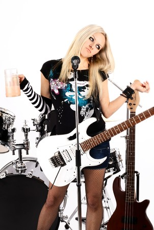 photo series in style rock-n-roll with the beautiful blonde Stock Photo - 4074822
