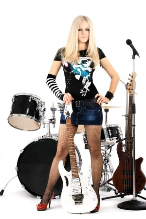 photo series in style rock-n-roll with the beautiful blonde Stock Photo - 4074829