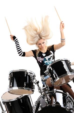 photo series in style rock-n-roll with the beautiful blonde