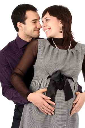 Young beautiful married couple the birth of the first child wait Stock Photo - 4092325