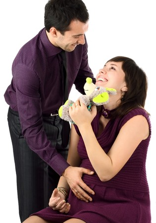 Young beautiful married couple the birth of the first child wait Stock Photo - 4092294