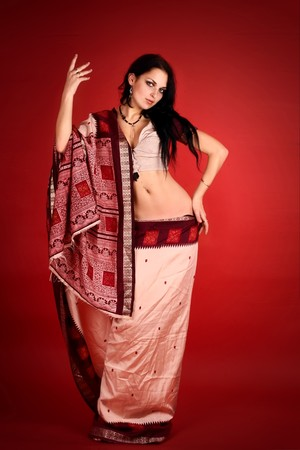 young beautiful brunette in the indian national dress Stock Photo