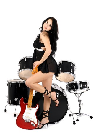 series of photos of the magnificent brunette in style sexy rock-n-roll Stock Photo - 4278088