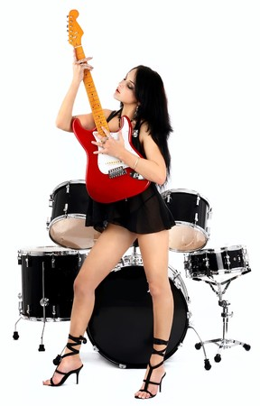 series of photos of the magnificent brunette in style sexy rock-n-roll Stock Photo - 4278084