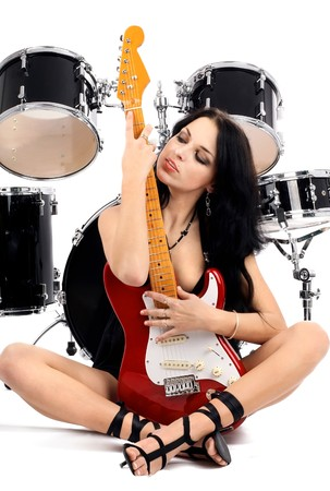 series of photos of the magnificent brunette in style sexy rock-n-roll Stock Photo - 4278131