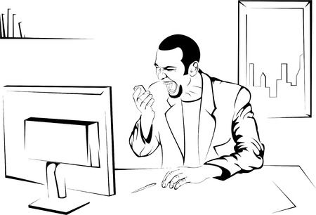 hungry boss orders a pizza in office Vector