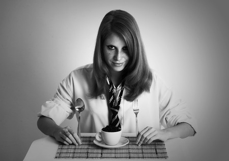 businesslady: Breakfast modern business-lady. Pure strong black coffee Stock Photo