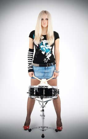 bass drum: photo series in style rock-n-roll with the beautiful blonde