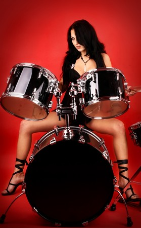 series of photos of the magnificent brunette in style sexy rock-n-roll photo