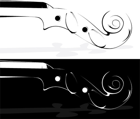 Vector. A violin contour on white and on a black background