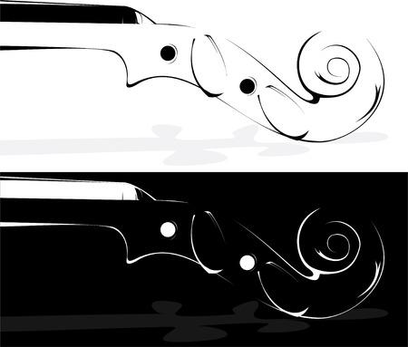 Vector. Een viool contour op wit en op een zwarte achtergrond
