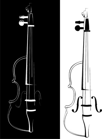 Vector. A violin contour on white and on a black background Vector