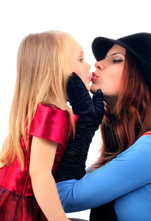 series of images of young mum with the daughters photo