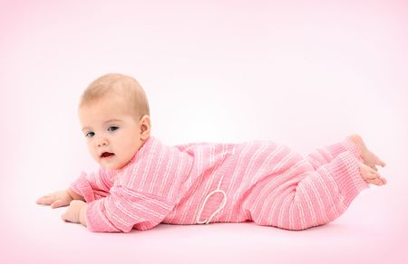 Portrait of the newborn girl in pink diapers Stock Photo - 4618526