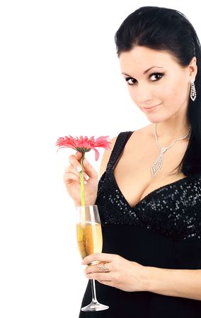 series of images of the beautiful brunette with a champagne glass. photo