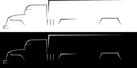 rear view: -illustration of the big truck on a white and black background