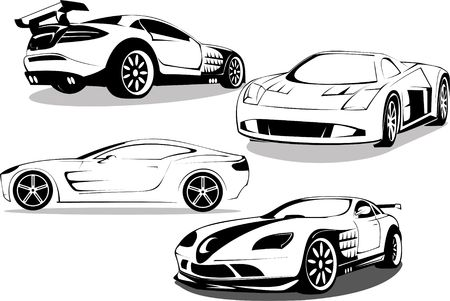 prestigious sports cars is isolated on white background photo