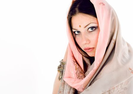 young beautiful brunette in the indian national dress Stock Photo - 5192035
