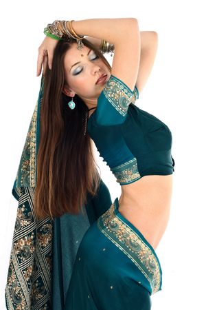 modesty: young beautiful brunette in the indian national dress Stock Photo