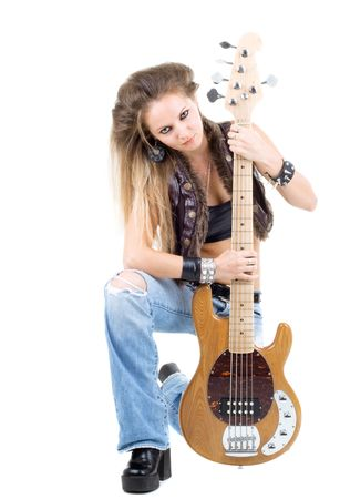 Series. The woman with a guitar. Rock-n-roll style photo