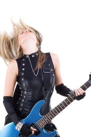 bass guitar women: Series. The woman with a guitar. Rock-n-roll style