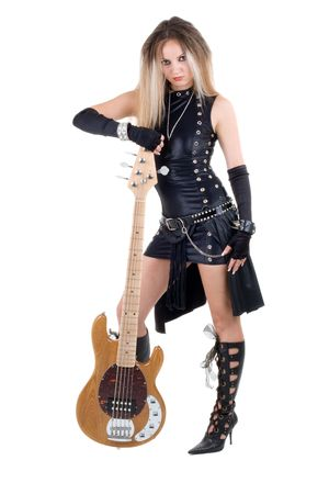 Series. The woman with a guitar. Rock-n-roll style