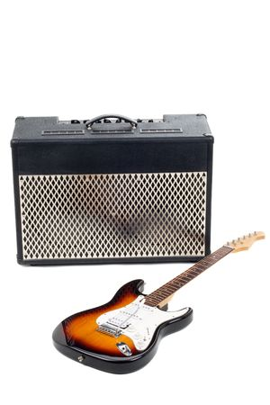 isolaten: Series. guitar amplifier and electricguitar isolaten on white background