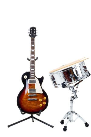 snare: Electric guitar and snare drum isolated on white background Stock Photo