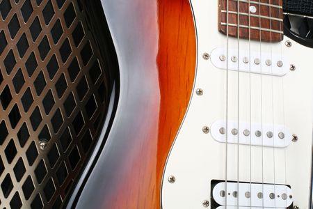 strat: Series. guitar amplifier and electricguitar