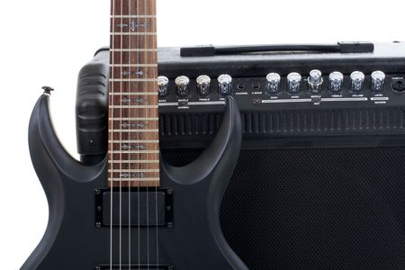 tremolo: Series. guitar amplifier and electric-guitar Stock Photo