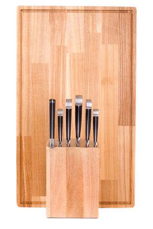 chrome molybdenum: Series. Set of kitchen knifes isolated on white