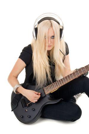 guitarra sexy: Serie. La hermosa rubia con una guitarra Foto de archivo